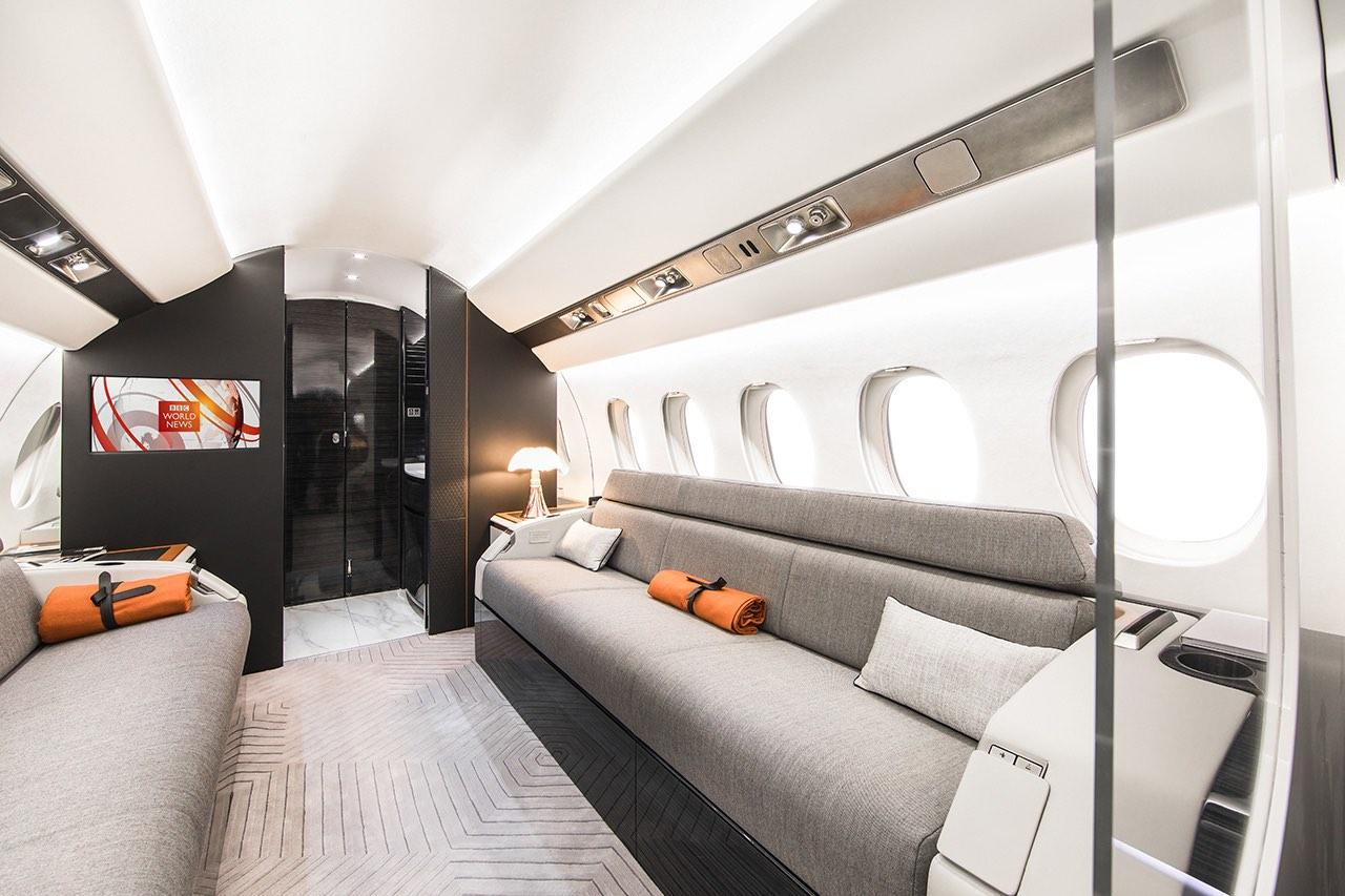 The cabin interior of the Falcon 6X, presented as a mockup