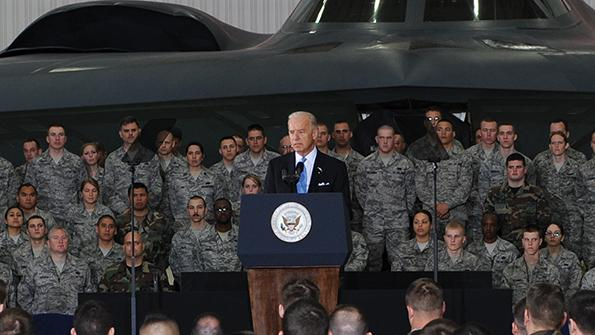 presidential candidate addresses air force personnel