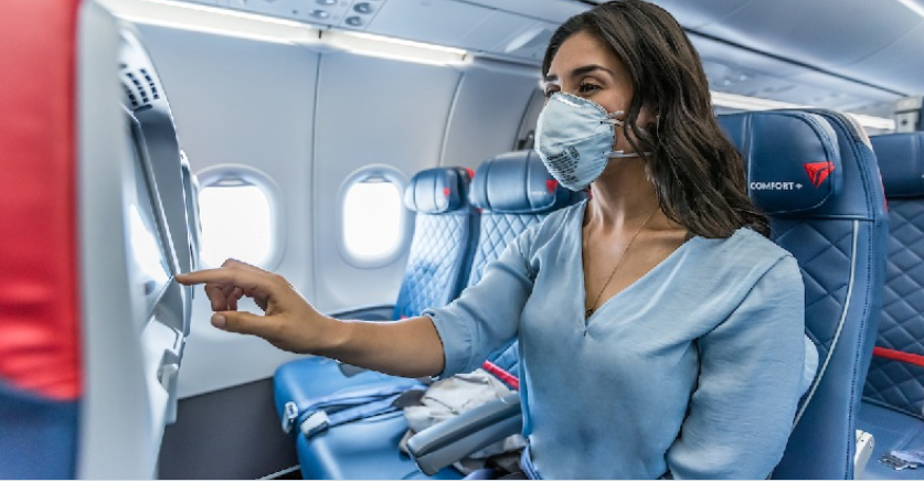 Delta Air Lines passenger with mask