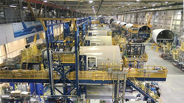 787 fuselage assembly in Charleston