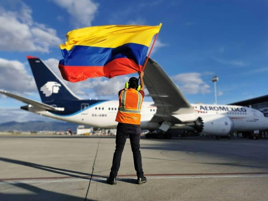 Bogota Airport with Colombian flag