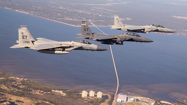 three F-15s in formation