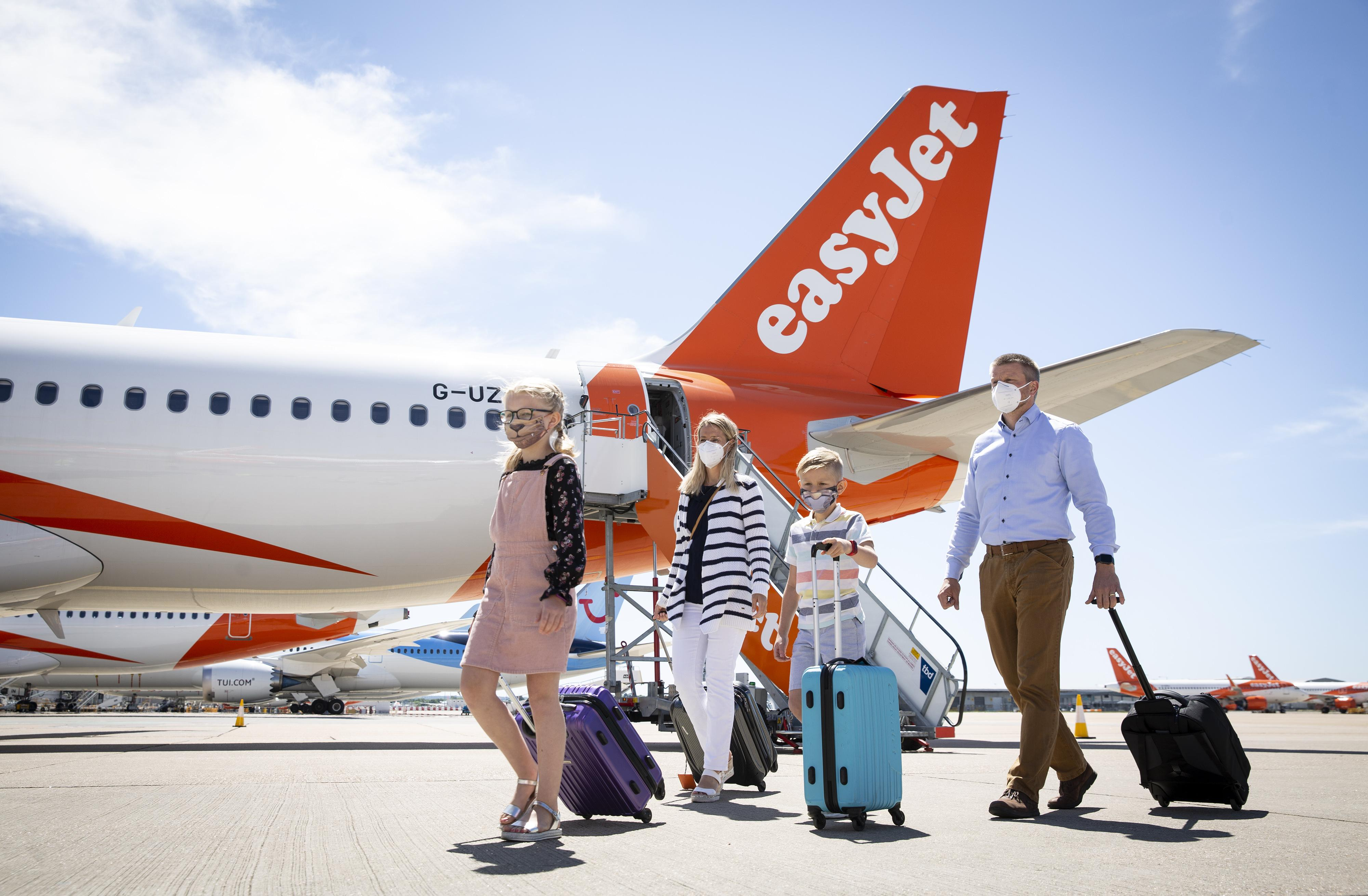 Easyjet passengers with masks