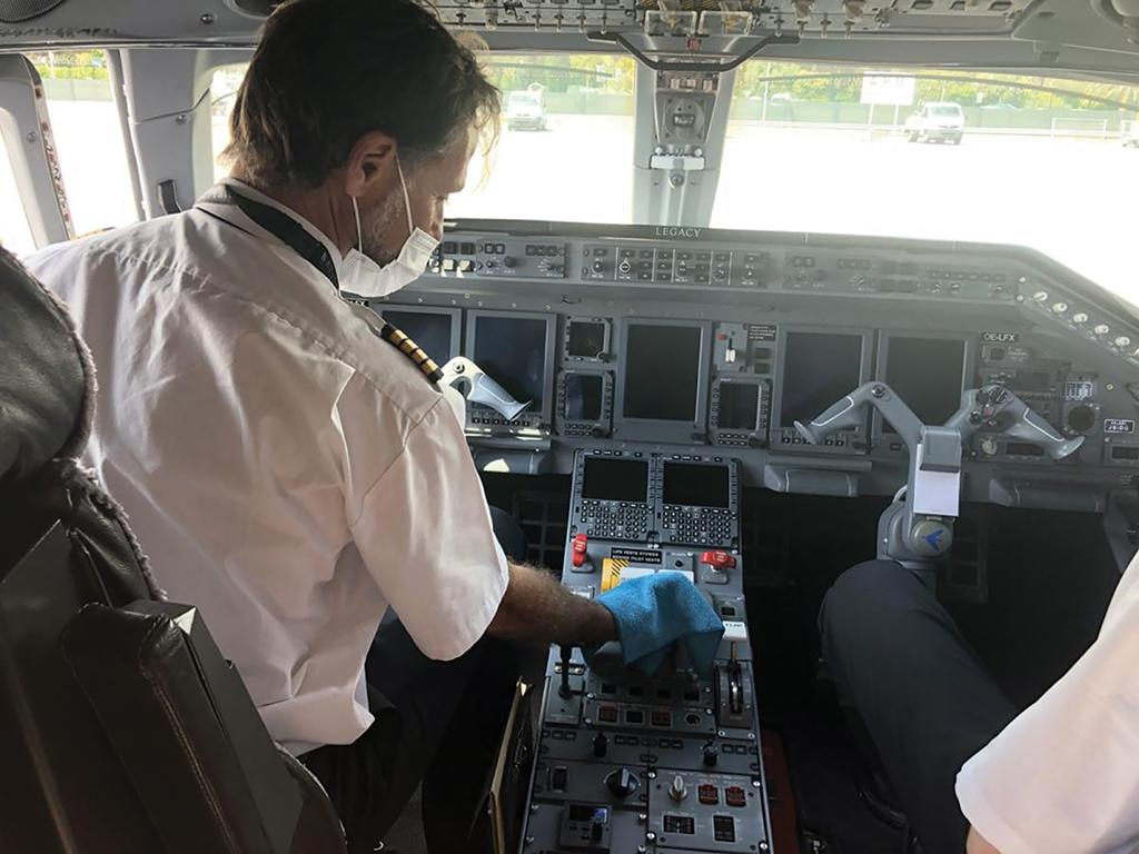 private pilot cleaning cockpit