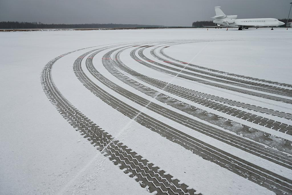 snow/slush-covered runway